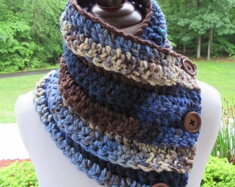 Chunky Cowl, Boston Harbor Scarf, Crochet Scarf, Button Scarf, Neck Warmer, Winter Accessory, Women's Gift, Handmade Cowl, Blue Brown Cream