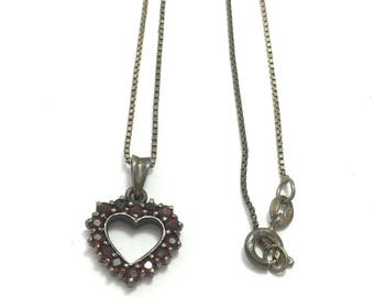 "Vtg sterling garnet heart necklace, garnet necklace, sterling silver, dainty necklace, 20"" long, theoldsilverbarrel, classic heart necklace"