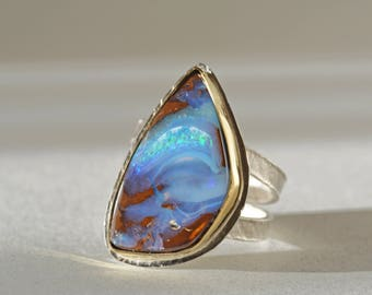 Large Boulder Opal Ring in Gold and Silver, Size 8, Opal Ring, Solid Opal Statement Ring, Queensland Australia Opal Ring, Opal Cocktail Ring
