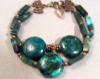"""Turquoise Bracelet 2-Strand Beaded Bracelet Blue Yellow Turquoise with Antique Copper Hand Made Jewelry 7 1/2"""""""