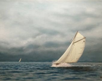 Vintage yacht in action.N.2 , Sea, Clouds, Yacht, Original painting,Oil,Marine, Wall decor, Visual art,Seascape, Nature,Yacht, Realistic,