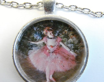 DEGAS BALLERINA in PINK Necklace -- Degas Impressionist  Art, Women in art,  Ballet dancer on stage, Gift for artists and art lovers