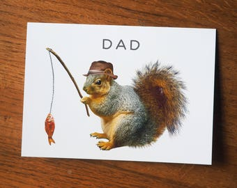 Fishing Squirrel Dad Card, Squirrel Father's Day Card, Fishing Father's Day Card