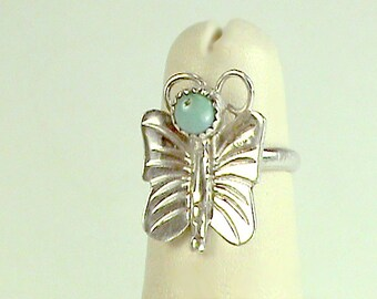 Zuni 925 Turquiose Butterfly Ring, Native American Cute Girls 925 Butterfly Ring, Turquoise Sterling Winged Critter, OOAK Vintage Blue Bug