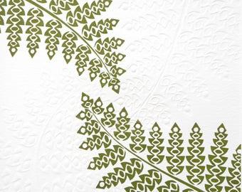 Dark Green Fern Lino & Hand Embossed Print