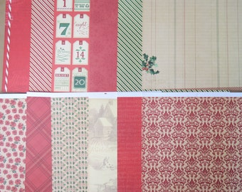 12 Sheets Cute 12 X 12 Scrapbook Paper Old Fashioned CHRISTMAS HOLIDAY Tree Crafting I