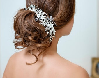 White bridal hair flower Ivory bridal headpiece Wedding hair Flower Wedding Hairpiece Wedding Hair Piece With Crystals Bridal Hair Jewelry