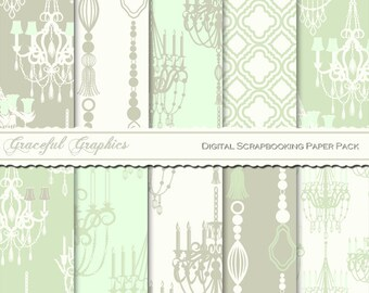 Scrapbook Paper Pack Digital Scrapbooking Background Papers French Paris CHANDELIERs 10 Sheets 8.5 x 11 BLUE Green Grey White 2214gg