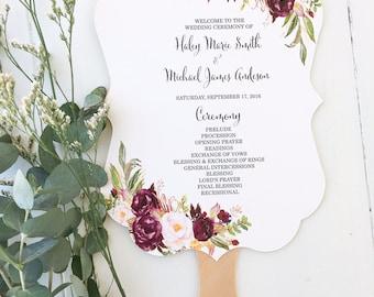 Wedding Program Fan, marsala wedding program, burgundy wedding, floral program, fan