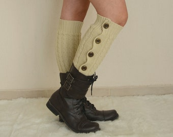 Beige leg warmers womens/Over the knee socks/Cable knit leg warmer/Boot socks/Plus size/Boot covers/Knee high socks/Gift/Winter accessory