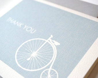 Thank You Note Set with Vintage Bike Drawing - Vintage Bicycle - Large Wheel Bike - Thank You Note Cards - Bike Thank You - Vintage Bike