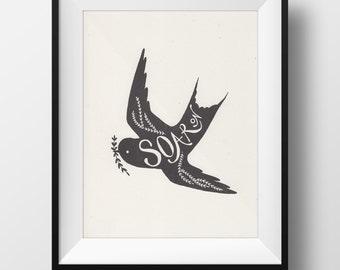 SALE! Fine Art Risograph Print - Soar On Illustration • Swallow Bird Art • Traditional Flash Art Tattoo Inspired