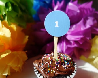Dozen Number 1 ONE Circle Birthday Cupcake Toppers - Orange & Blue Laminated Stickers Numbers, Letters, Phrases - Events Handmade by DORANA