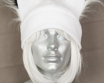 Furry Ear White Fox Hat