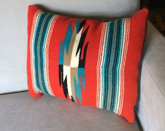 Handwoven Throw Pillow, Navajo Design and Colors