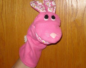 Pink Fleece & Daisy cottonRabbit Bunny hand Puppet