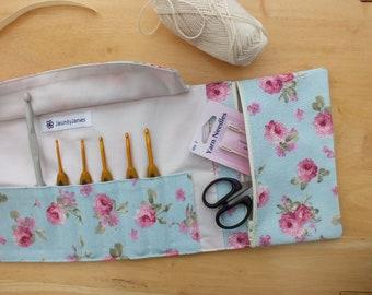 Crochet Hook Case Storage Organizer with Pouch, Rose Crochet Hook Holder