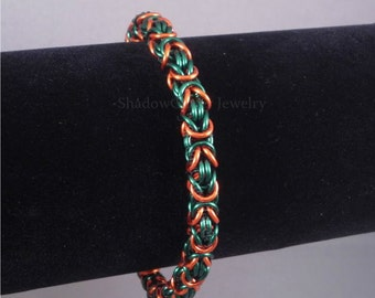 Green and Orange Byzantine Chainmaille Bracelet silver tone toggle clasp ShadowCutter Jewelry