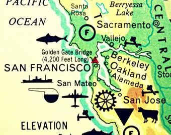 Map Art Print Decor  SAN FRANCISCO California photograph  vintage 12x12 fits IKEA Ribba frame San Mateo Berkeley Oakland blue green yellow