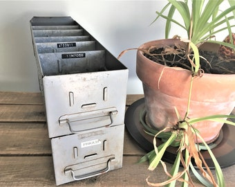 Two Metal Gray Industrial Card Catalog Drawers – 10 Dividers