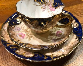 Antique Trio -   Cup Saucer and Plate - Gaudy Welsh Caufield Glasgow - Imari Floral