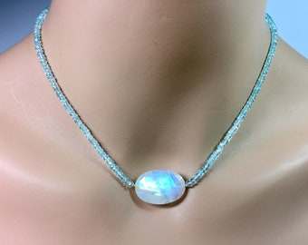 Aquamarine and Rainbow Moonstone Necklace in Sterling Silver