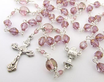 First Communion Rosary - Light Pink Wire Wrapped Catholic Five Decade Rosary Beads - Personalized Name Rosary - Girls Rosary - Catholic Gift