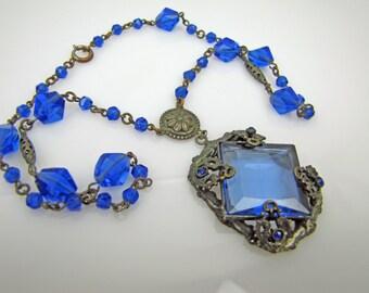 Czech Art Deco Necklace. Antique Silver Filigree Sapphire Blue Crystal Pendant. Great Gatsby Necklace. 1920s Vintage Art Deco Jewelry