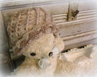 toddler spiral shell beanie crochet hat winter hat variegated scalloped cuff variegated cappuccino acrylic washable