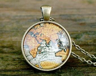 World Necklace | Atlas Necklace | Globe Necklace | World Map Necklace | Map Necklace | Travel Gift | Handmade Jewelry | Gift Ideas
