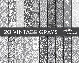"""Gray Floral Digital Paper """"20 VINTAGE GRAYS"""" with 20 gray floral damask digital papers for scrapbooking, cards, prints."""