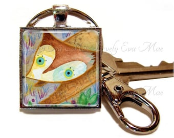 Lauren Alexander, Fox Keychain with Clip, Fox Keyring, Fox Gift, Fox Accessories, Watercolors, Key Fob with Clasp, Key Chain, Key ring