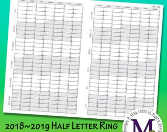 Half Letter Ring Bound Size Academic year 2018-2019  Fold Out, Year at a Glance