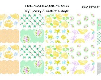 ECV-0170-H Stickers - Spring Softness! Boho/Shabby Chic Scalloped Half-Box - Erin Condren, Happy Planner, Recollections, Notebook, TN