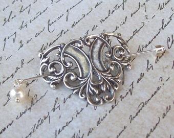 Celtic Shawl Pin, Celtic Lapel Pin, silver shawl pin, scroll, stick pin, hat pin, Irish, fall fashion, silver scarf pin