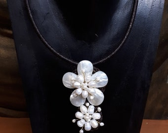 Double Flower Necklace made from natural pearls and shells