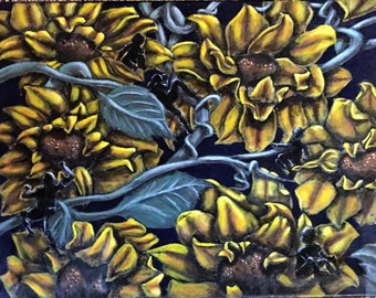 ORIGINAL 16x20 Sunflower wall art Acrylic Painting