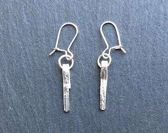 Sterling Silver Pattern Dangle Earrings