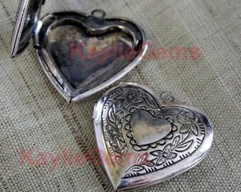 Antique Silver Heart Locket Pendant Victorian Style LKHS-118AS - 2pcs