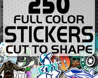 250 Custom Vinyl Stickers - Promotional Stickers - Choose your shape - Laminated Stickers - Not Paper Stickers
