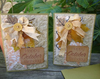 October birthday card embellished cards for friend fall paper crafts