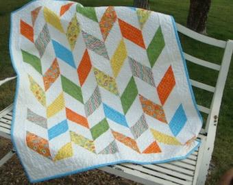 Handmade Baby Quilt - Herringbone with Bright Fabrics