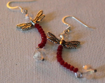 Crystal Dragonfly Earrings/Free Shipping/Red Crystal Dangle Earrings/Earrings Handmade/Swarovski Crystal/Dainty Dragonfly Earrings For Her