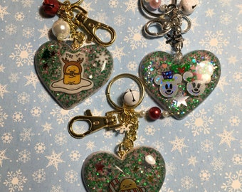 Christmas themed Heart shaped Bag Charm/Chain and keychain