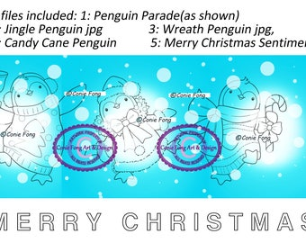 Digital Stamp, Digi Stamp, Digistamp, Penguin Parade Bundle by Conie Fong, Penguin, Christmas, wreath, candy cane, bell, coloring page