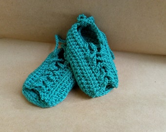 Baby gladiator Shoes, Baby Gladiator Sandals, Crochet Baby Shoes, Green Baby Shoes, Newborn shoes, Crochet newborn shoes, Cotton Baby Shoes