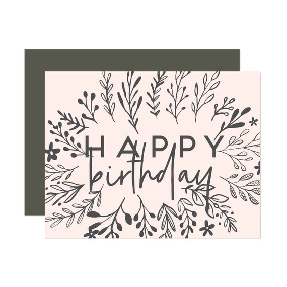 Millennial Pink & Charcoal Floral Birthday - Happy Birthday Card