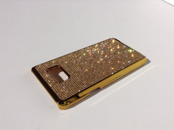 Galaxy Note 5 Gold Topaz Rhinestone Crystals on Gold-Bronze Chrome Case. Velvet/Silk Pouch Bag Included Genuine Rangsee Crystal Cases