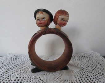 Reduced Cute Old Treen Black Forest Two Headed Napkin Ring