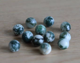 Agate green beads - 8mm - 50 pcs